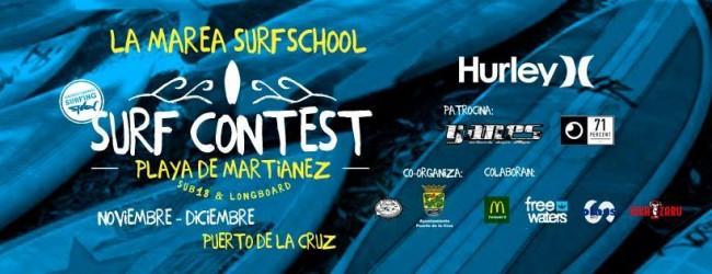 Campeonato de surf en la playa de Martiánez