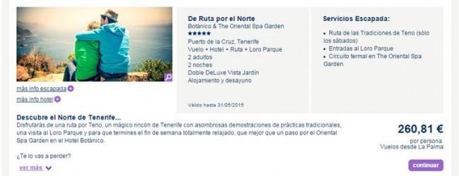 Escapada: La Palma – Tenerife Norte