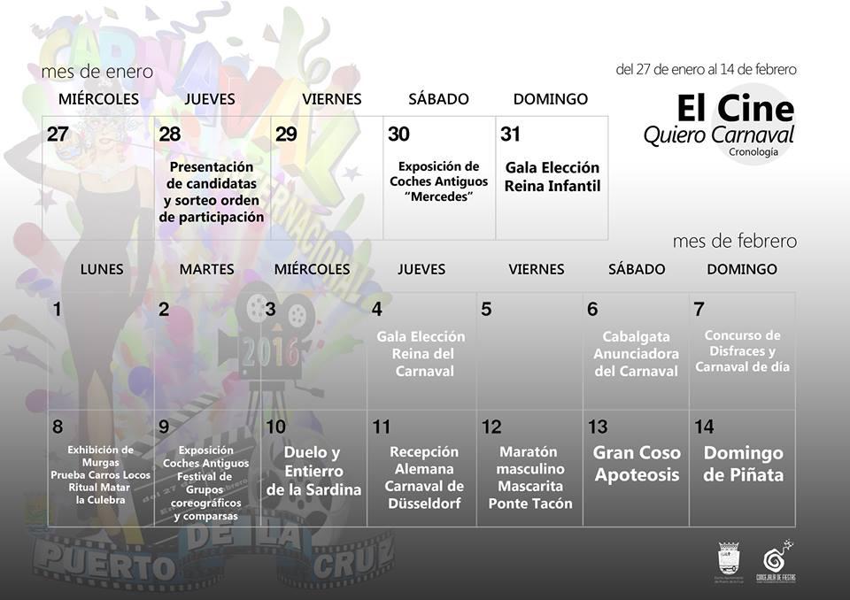 Calendario Carnaval Puerto de la Cruz 2016
